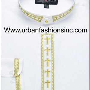Banded clergy shirt with cross embroidery